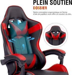 Chaise gaming confortable à utilisation polyvalente