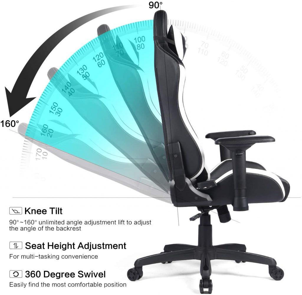 Chaise gaming avec une conception ergonomique offrant un confort considérable