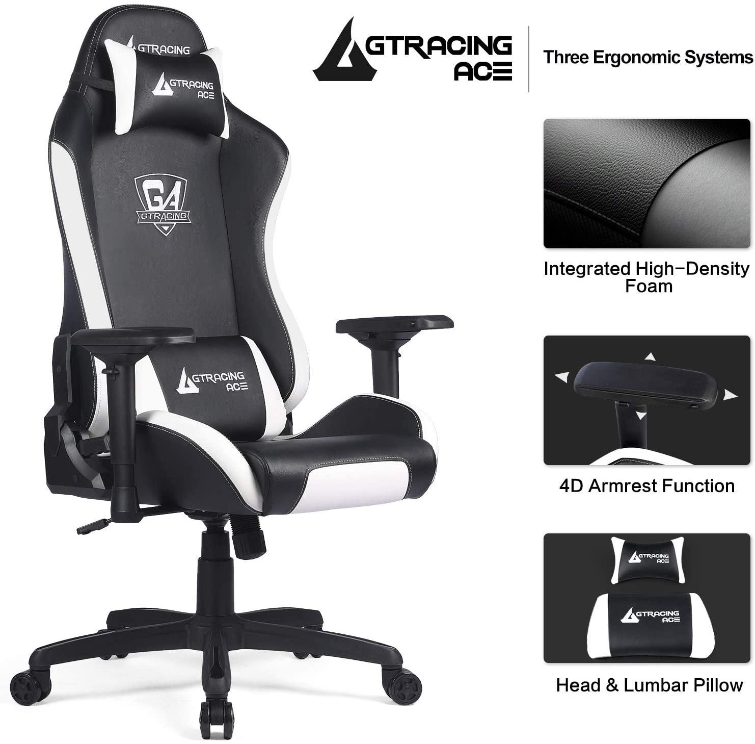 Chaise gaming dotée d'un dossier, de coussin lombaire et d'appui-tête
