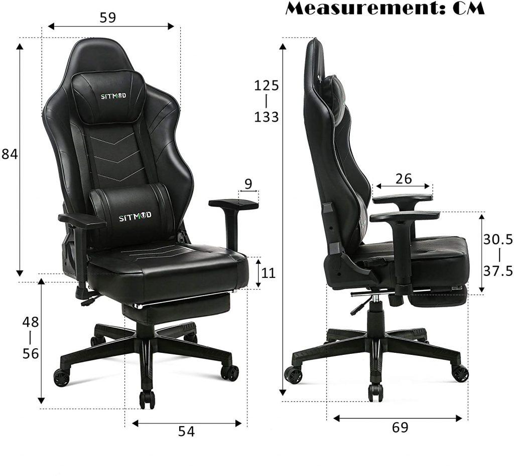Chaise gaming confortable avec repose-pieds escamotable