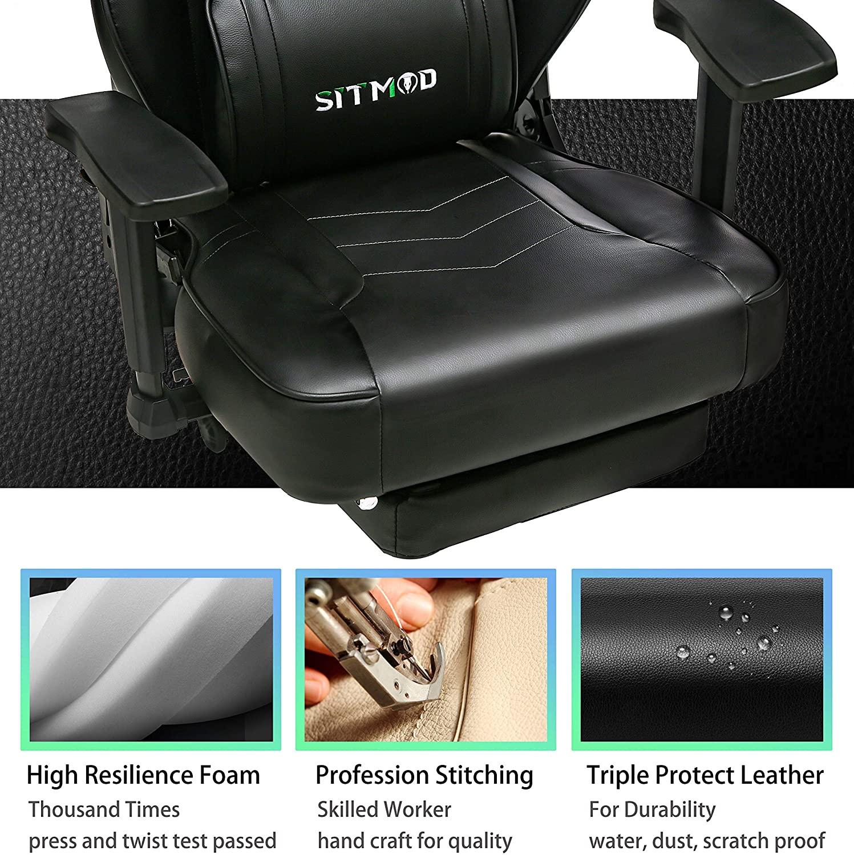Chaise gaming dotée de système hydraulique certifié SGS et mécanisme d'inclinaison robuste