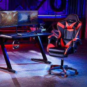 Chaise gaming offrant un soutien complet de la tête aux pieds,