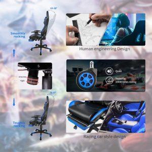 Chaise gaming confortable, réglable et ergonomique parfait pour le travail et le jeu